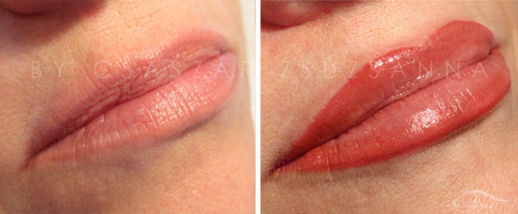 Ugye mennyivel szebb lett, hogy egy kis színt adtam a szájnak? Nemcsak a középső íven, hanem az alsó szájon is nagyobbítottam.